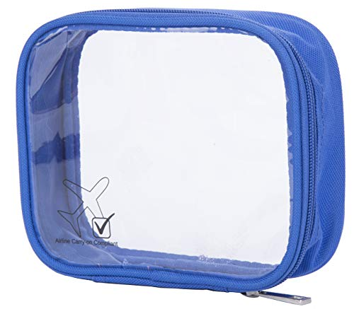ShoutJump TSA Approved Clear Durable Toiletry Bag for Domestic/International Travel | Quart Size for 3-1-1 Compliant Toiletries/Cosmetics/Accessories in Carry-On Luggage (1-pc, Cobalt Blue)