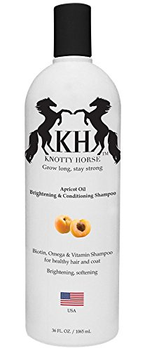 (Knotty Horse Apricot Oil Brightening & Conditioning Shampoo for Horses - Made with Real Apricot Oil - Great Smelling, Nutrient Rich Formula is Effective on All Types of Hair and Skin - 36 oz. Bottle)