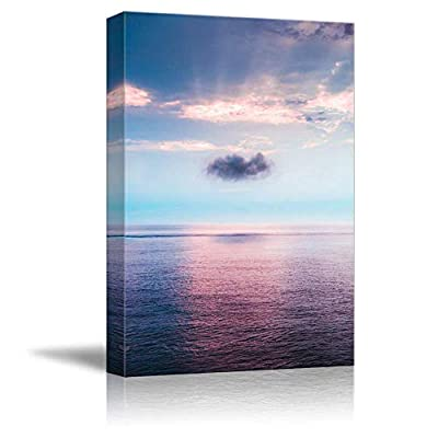 Alluring Technique, Quality Creation, Purple Sunset Flow Ocean Water Painting Artwork for Home Framed