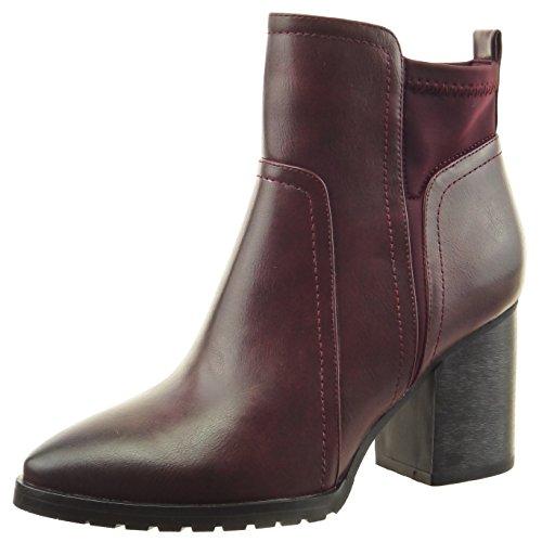 Sopily - Chaussure Mode Bottine Chelsea Boots Cheville femmes finition surpiqûres coutures Talon haut bloc 8 CM - Rouge