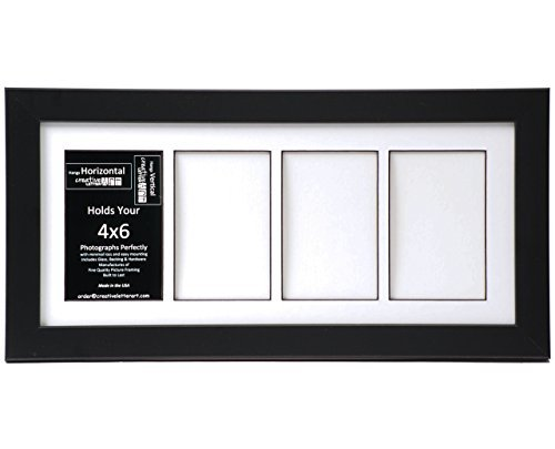 Creative Letter Art [8x18bk-w] 4 Opening Glass Face Black Picture Frame Holds 4x6 Media with White Collage Mat