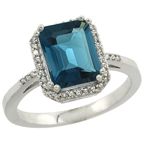 Sterling Silver Diamond Natural London Blue Topaz Ring Emerald-cut 9x7mm, 1/2 inch wide, size 9.5 by Sabrina Silver