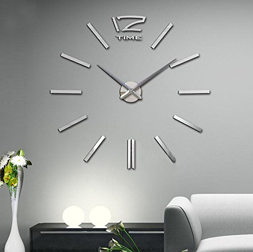 Modern 3D Acrylic Mirror Metal Frameless Large Wall Stickers Clocks Style Watches Hours DIY Room Home Decorations (Sliver) (Modern Wall Mirror Art)