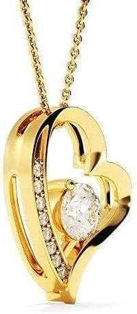 You Complete My Heart CZ Love Heart Pendant 18k Gold or Stainless Steel 18 Necklace