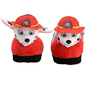 Animated Marshal Plush Slippers - Ultra Soft and Fuzzy - Nickelodeon Paw Patrol Character - Ears Move as You Walk - by Stompeez