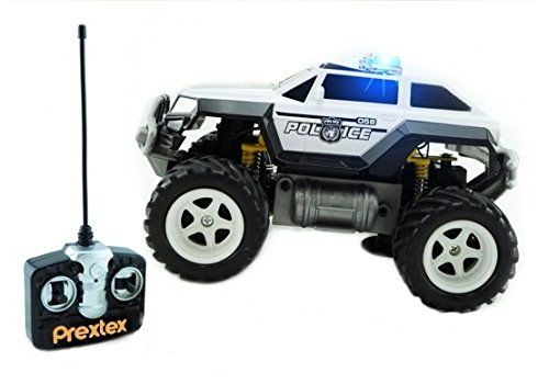 Prextex Remote Control Monster Police Truck Radio Control Police Car toys for boys Rc Car with Lights Best Christmas gift for 3+ year old boys