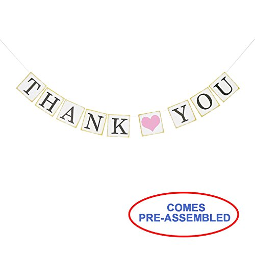 Thank You Wedding Bunting Banner Photo Booth Props Garland Anniversary Bridal Party Decoration (Gold) -