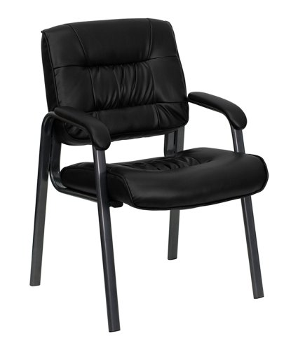 Offex Black Leather Executive Side Chair with Titanium Frame Finish