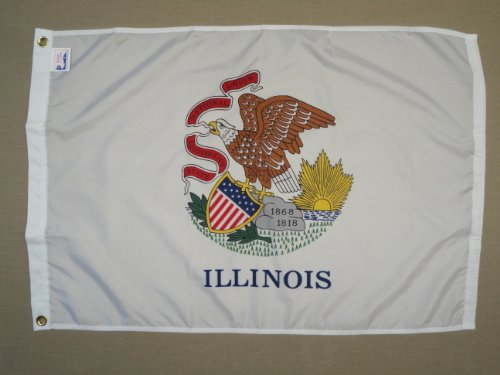 Annin Flagmakers Model 141480 Illinois State Flag Nylon SolarGuard NYL-Glo, 5x8 ft, 100% Made in USA to Official Design Specifications