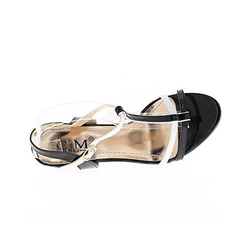 Fins Blanches Noires Sandales Bicolores De 10cm À Talon Et pF11vq