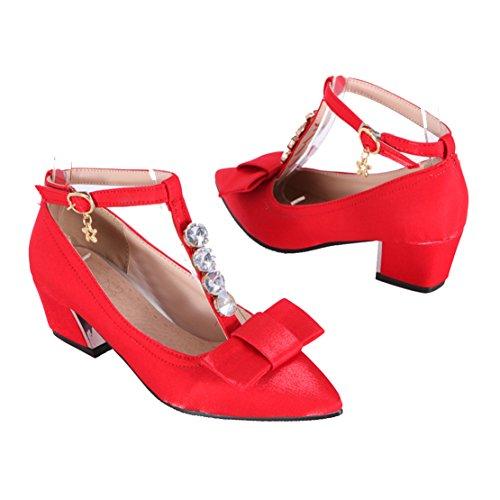 AIYOUMEI Damen T-Spangen Pumps mit Knöchelriemchen und Schleife Chunky Heels Pumps mit 5cm Absatz Rot