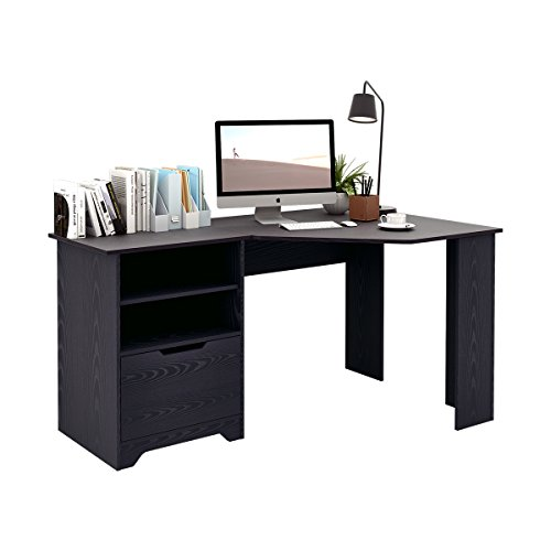 ner Desk, Wood Computer Desk with Storage Shelves ()