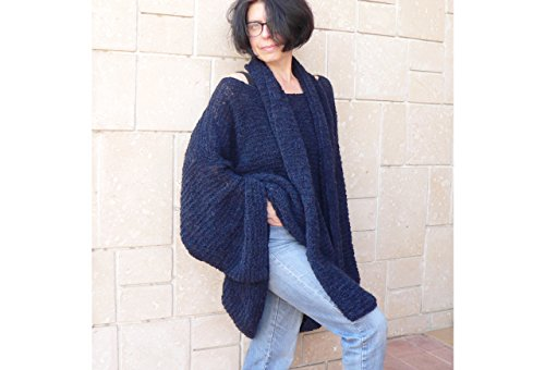 Women Navy Blue Mohair Sweater & Long Scarf by MK HandMade