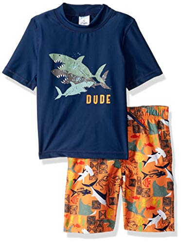 KIKO & MAX Little Boys' Swimsuit Set with Short Sleeve Rashguard Swim Shirt, Shark Dude Navy, 7 (Boys Swim Trunks Size 7)