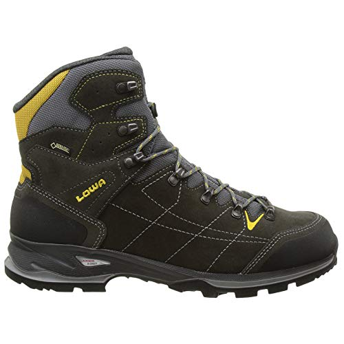 (Lowa Mens Vantage GTX Mid Suede Textile Anthracite Yellow Boots 11 US)