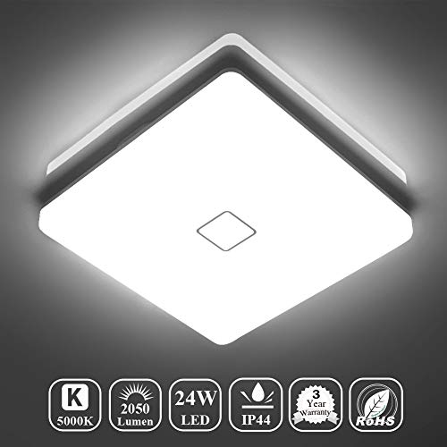 - Airand 5000K LED Ceiling Light Flush Mount 24W 12.6in Square LED Ceiling Lamp for Kitchen Bathroom Hallway with 240Pcs LED Chips Without Flicker, 2050LM, IP44, 80Ra+, 180W Equivalent (Daylight White)