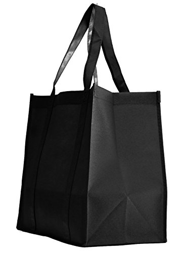 100 Pack Heavy Duty Grocery Tote Bag, Black Color Large & Super Strong, Reusable Shopping Bags with Stand-up PL Bottom, Non-Woven Convention Tote Bags, Premium Quality (Set of 100 (1BOX), Black)