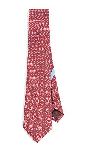 (Salvatore Ferragamo Men's Gancio Print Tie, Red/Blue, One Size )