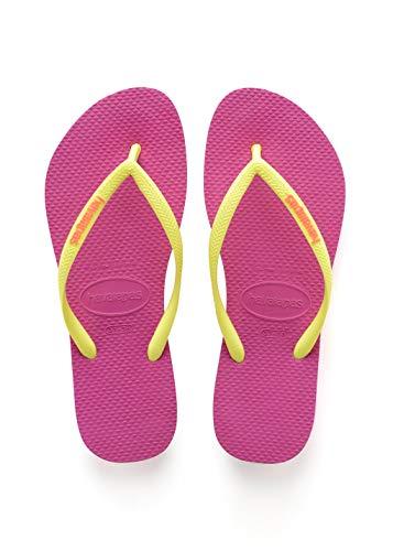 Havaianas Women's Slim Logo Popup Flip Flop Sandal,Hollywood Rose, 41/42 BR(11-12 M US Women's / 9-10 M US Men's) (Havaianas Pink)