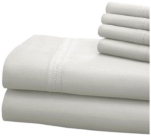 CHT Hotel Collection 1000 Thread Count 6-Piece Sheet Set with Double Hem Finish, Queen, White