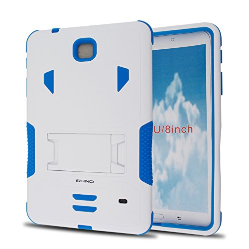 iRhino For Samsung Galaxy Tab 4 8.0'' / 8-inch (SM-T330) (2014) Heavy Duty Armor Rugged Hybrid Kickstand Protective Cover Case (White on Blue) by iRHINO