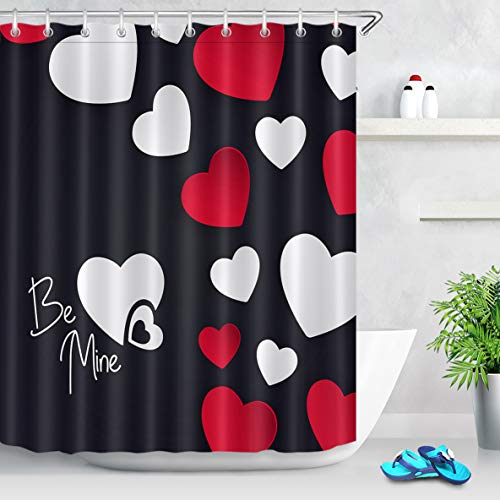 LB Happy Valentine's Day Shower Curtain,Black Background with Be Mine Letter Heart Print Shower Curtain for Lovers Bathroom Sets Fabric with Hooks,72x72 Inch Black White Red - Heart Shower Curtain