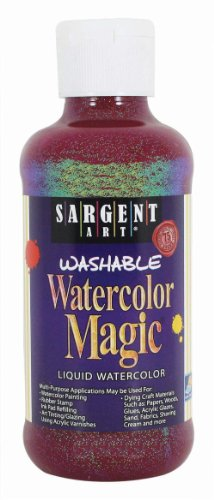 Glitter Watercolors (Sargent Art 22-9020 8-Ounce Glitter Watercolor Magic, Red)