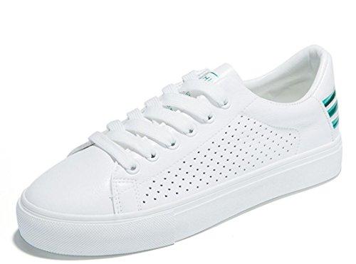 SHFANG Señora Zapatos Simple Pequeño blanco Zapatos Plano Fondo Ocio Movimiento Estudiantes Escuela Corriendo Blanco Green