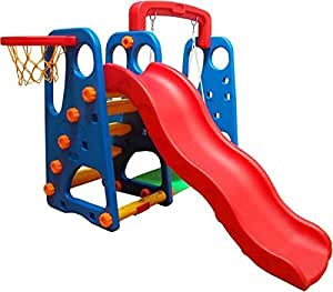 RBWTOY Slide and Swing With Basketball 3 in 1 Set Multi Color For Kids Activities, rbwtoy16341.