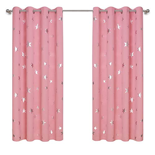 Anjee Kids Curtains for Girls Room, Foil Print Star Room Darkening Blackout Curtains Window Drapes for Christmas, W52 x L63, 2 Panels 2 Tiebacks, Baby Pink