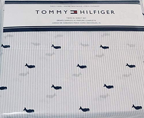 Tommy Hilfiger Queen Sheet Set Whale Ithaca Blue Stripe 4 Pc (Bedding Hilfiger Queen Tommy)