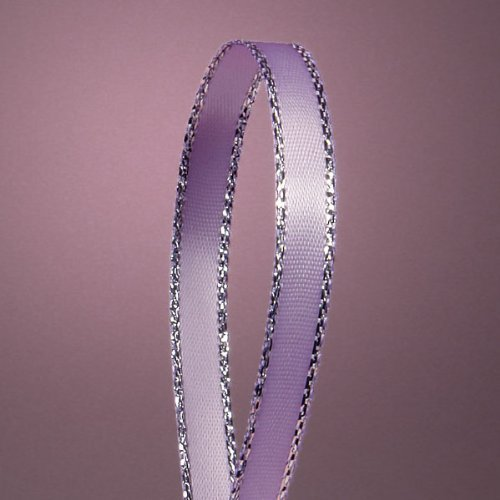 Lavender Satin Ribbon with Silver Border, 1/4