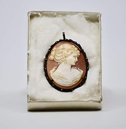- Vintage Victorian Cameo/Pendant Pin Back - Hand Carved Shell Cameo - Amazing Detail - Highly Collectible