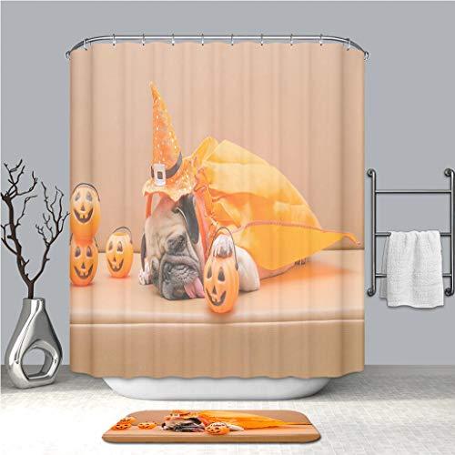 BEICICI Shower Curtain and Bath mat Rug Pug Dog with Halloween Costume Sleep on Sofa Custom Stylish,Waterproof,Mildew Proof Bathroom Set