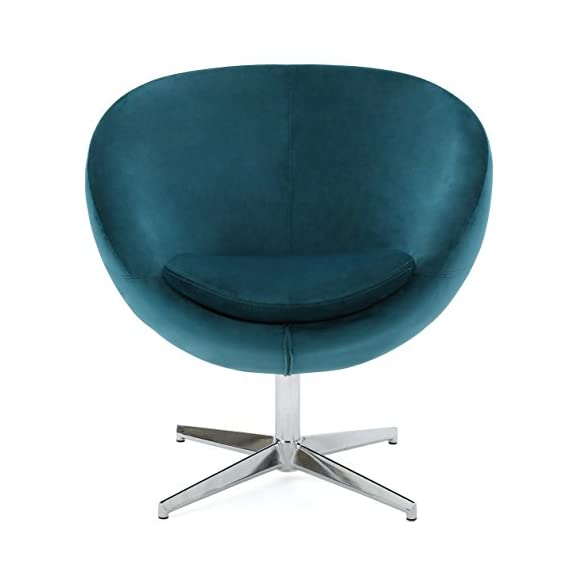 Great Deal Furniture 299533 Sphera Dark Teal Velvet Modern Chair, - Includes: one (1) chair. Material: velvet. Velvet composition: 100% polyester Leg Material: Steel. Color: Dark Teal. Leg color: Chrome Light assembly required. Dimensions: 29. 50 inches deep x 23. 50 inches wide x 32. 75 inches high - living-room-furniture, living-room, accent-chairs - 41V81JwtFpL. SS570  -