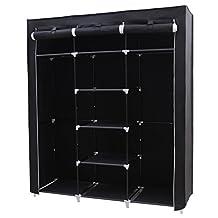 SONGMICS Portable Closet Non-woven Fabric Wardrobe Storage Organizer with Shelves Black 59-Inch