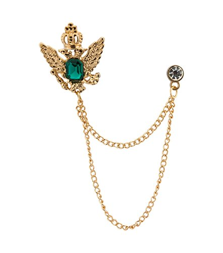 Chain Brooch - Knighthood Men's Golden Crown Stone with Hanging Chain Brooch Golden