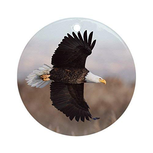 Bald Eagle Christmas Ornaments Round Ceramic Christmas Tree Hanging Ornaments Decoration Xmas Gifts Ornaments ()
