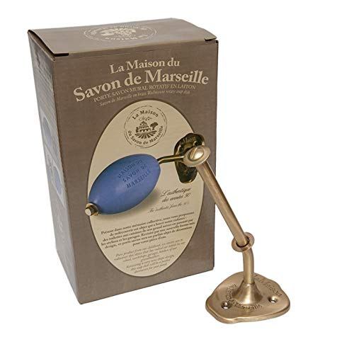 Wall Mounted Rotating French Soap Holder - Brass Finish- with Savon de Marseille Argan 0il Soap 270g