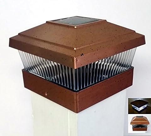 (6 Pack) Solar Powered Outdoor Garden 5x5 Fence Post Cap LED Light, Copper
