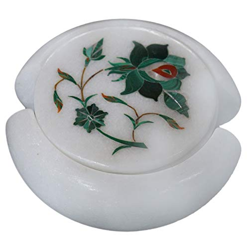 Artefactindia Round White Marble Malachite Stone Coaster Set with Floral Art Inlaid with Semi Precious Gemstones