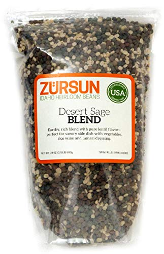 (Zursun Heirloom Desert Sage Lentil Blend (Spanish, Ivory and French Green) 24 oz)