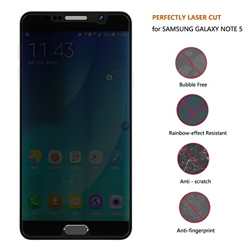 Samsung Galaxy Note 5 Screen Protector, Joylink Mirror Tempered Glass Anti Spy Privacy Screen Protector,9H Hardness,Ultra-thin 0.33mm,High Defintion Clear,Explosion-Proof,Anti Scratch Shatter,Black Photo #5