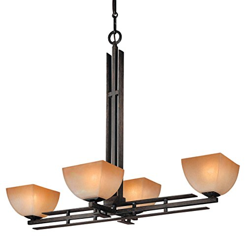Minka Lavery Chandelier Pendant Lighting 1274-357, Lineage Glass 1 Tier Dining Room, 4 Light, 400 Watts, Iron