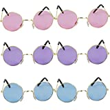 John Lennon Hippie Style Round Retro Sunglasses [Set Of 6] In 3 Different Colors, Perfect For 60 Party's, Costume And Party Accessory