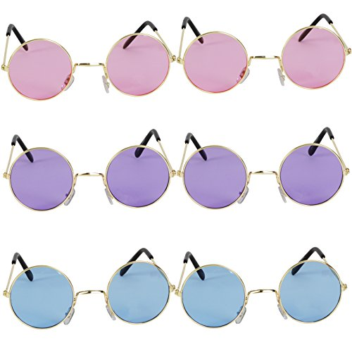 Glass Round Rose (John Lennon Hippie Style Round Retro Sunglasses [Set Of 6] 3 Different Colors, Perfect For 60 Party's, Costume And Party Accessory)