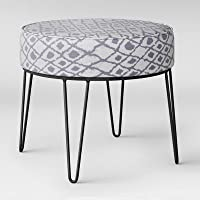 Project 62 Carman Round Ottoman with Hairpin Legs Gray Ikat
