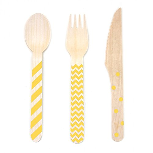 Birch Set Buffet (Dress My Cupcake Stamped Wooden Cutlery Set, Chevron/Striped/Polka Dot, Yellow, 18-Pack)