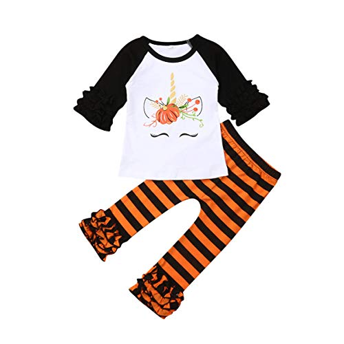 Toddler Kid Baby Girls Halloween Outfits Ruffled Long Sleeve Pumpkin Top Blouse Striped Pants Set 1-6Y (3-4Y,