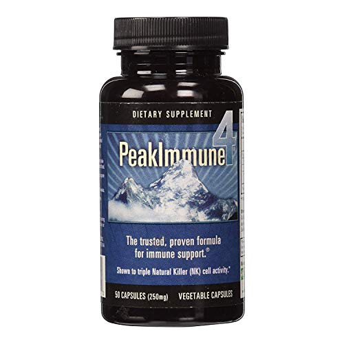 Daiwa Peak Immune 4 – Immune System Booster Rice Bran and Shitake Mushroom Supplement for Natural Immune Support – 250 mg, 50 Capsules